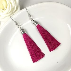 Fuchsia Tassel Drop Earrings